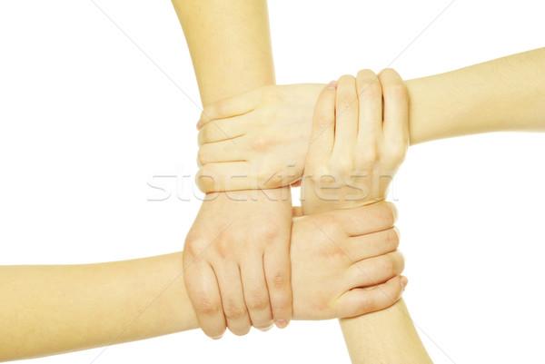 Ręce pierścień odizolowany biały sieci grupy Zdjęcia stock © Pakhnyushchyy