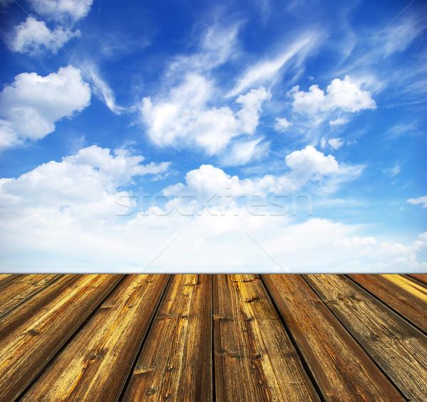 Photo stock: Ciel · bleu · plancher · de · bois · ciel · printemps · paysage · cadre