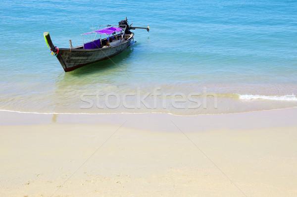 Tropical beach, longtail boats,  Stock photo © Pakhnyushchyy