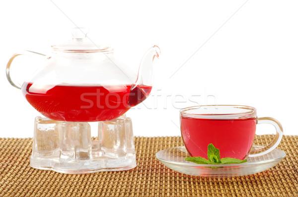 Teáscsésze tea üveg zöld folyadék tárgy Stock fotó © Pakhnyushchyy