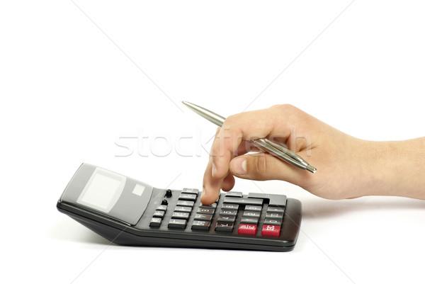 калькулятор стороны изолированный белый образование прессы Сток-фото © Pakhnyushchyy