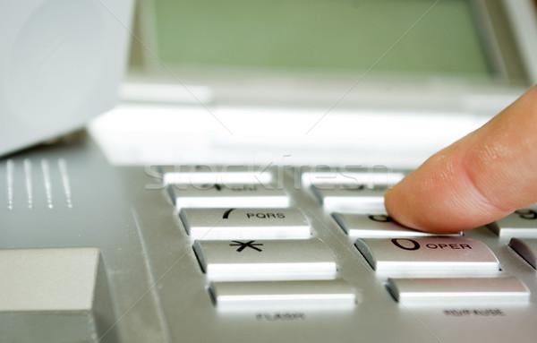 finger with phone Stock photo © Pakhnyushchyy
