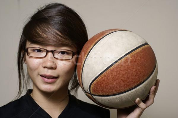アジア 女性 ボール 笑顔 幸せ ストックフォト © palangsi