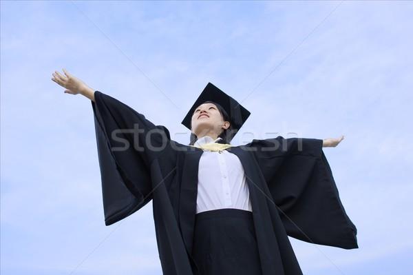 幸せ アジア 大学院 女性 腕 空 ストックフォト © palangsi