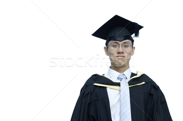 Smiling male asian graduate on white Stock photo © palangsi
