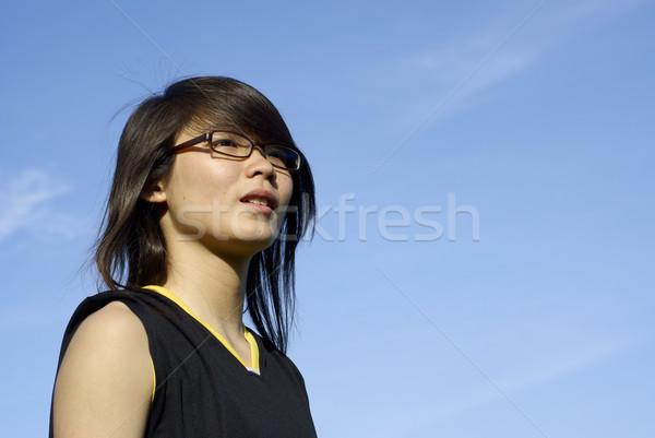 アジア 十代の少女 見える 将来 青空 ストックフォト © palangsi
