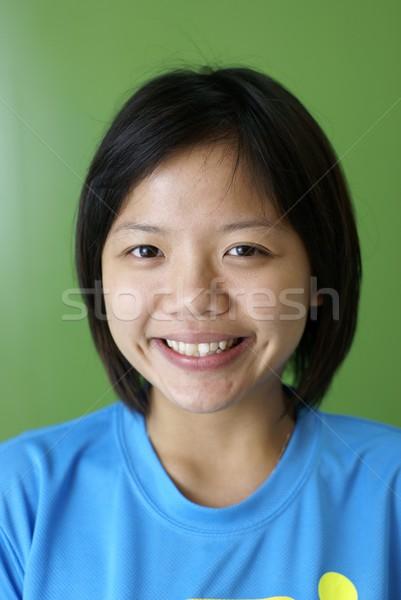 幸せ 笑みを浮かべて アジア 中国語 十代の少女 緑 ストックフォト © palangsi
