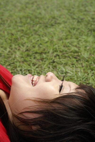 アジア 女性 赤 シャツ 笑い 楽しく ストックフォト © palangsi