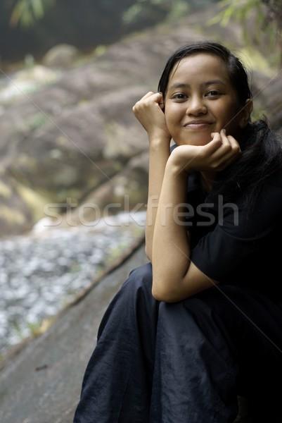 幸せ 笑みを浮かべて アジア 代 屋外 ストックフォト © palangsi
