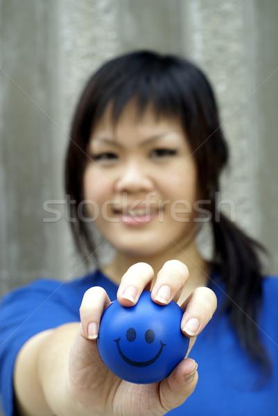 小さな アジア 女性 青 スマイリー ストックフォト © palangsi