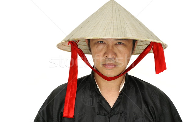 Asian man with vietnam conical hat Stock photo © palangsi