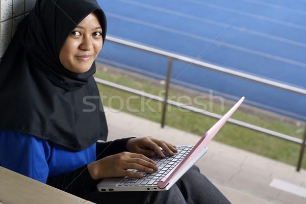 幸せ 十代の少女 ノートパソコン 外 リラックス 研究 ストックフォト © palangsi