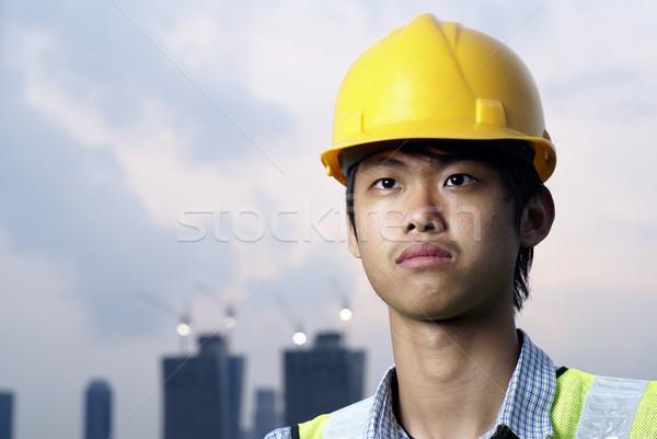 小さな アジア 建設 エンジニア 着用 黄色 ストックフォト © palangsi