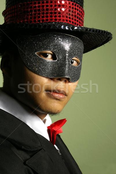 アジア 男 マスク 先頭 帽子 肖像 ストックフォト © palangsi