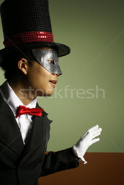 Man in mask and top hat intrigue Stock photo © palangsi