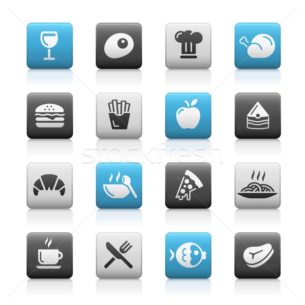 Voedsel iconen mat vector web afdrukken Stockfoto © Palsur
