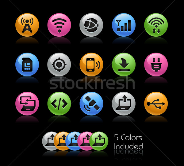 Connectiviteit iconen vector bestand kleur icon Stockfoto © Palsur