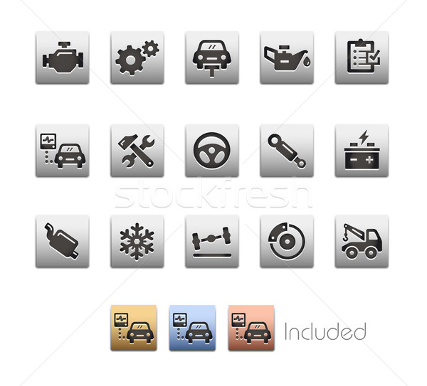 Car Services Icons - Metalbox Series Stock photo © Palsur