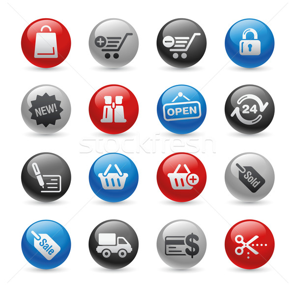 Foto stock: Compras · iconos · de · la · web · gel · profesional · iconos · sitio · web