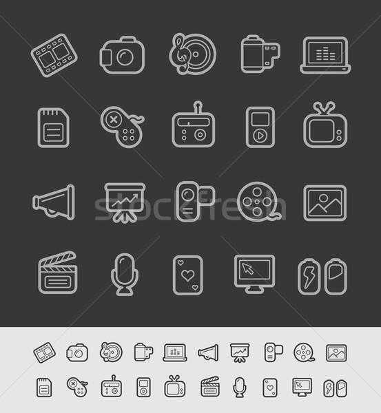 Stock photo: Media Icons // Black Line Series