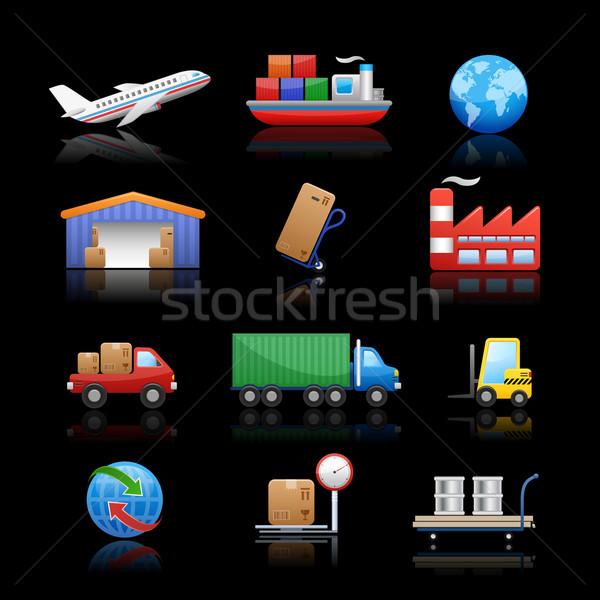 Industry & logistics Icons // Black Background Stock photo © Palsur