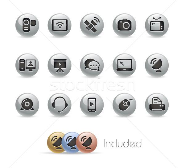 Foto d'archivio: Comunicazione · icone · metal · vettore · file · eps