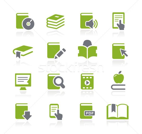 Stockfoto: Boek · iconen · groene · vector · web