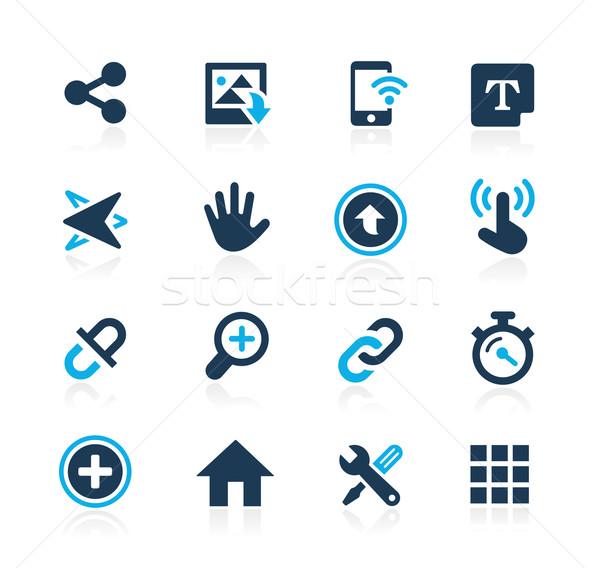 Foto stock: ícones · interface · azul · vetor · teia · móvel