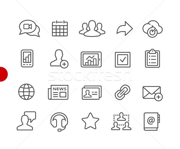 Zdjęcia stock: Business · network · ikona · czerwony · punkt · wektora · line