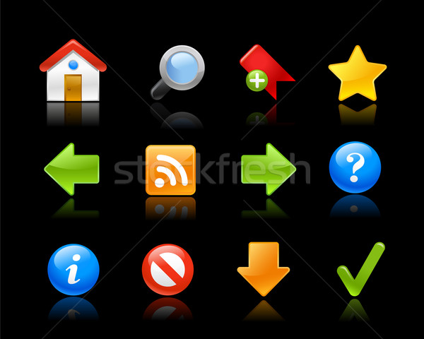 Web sitesi simgeler jel siyah vektör web Stok fotoğraf © Palsur