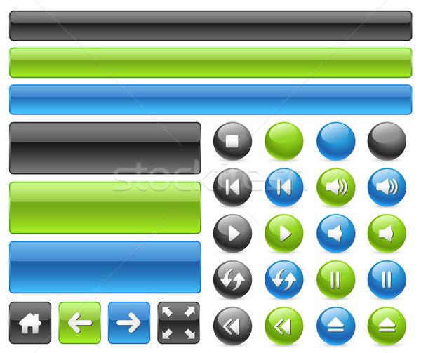 Stockfoto: Gel · web · knoppen · muziek · iconen · borden
