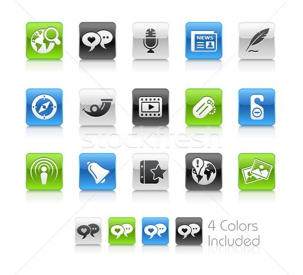Médias sociaux propre eps fichier couleur icône Photo stock © Palsur
