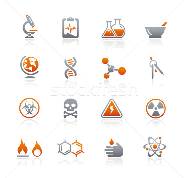 Science Icons // Graphite Series Stock photo © Palsur