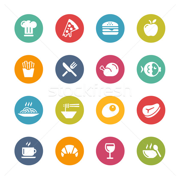 Food and Drink Icons - 1 -- Fresh Colors Series Stock photo © Palsur