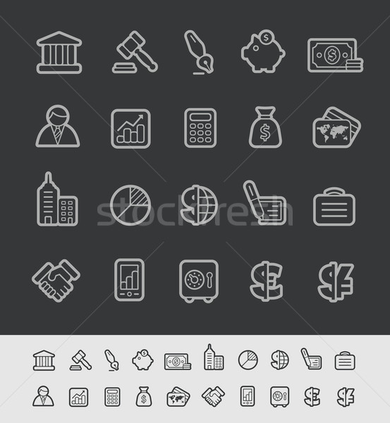 Business and Finance Icons -- Black Line Series Stock photo © Palsur