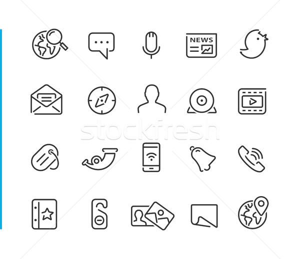 Közösségi háló ikon gyűjtemény kék vonal ikonok digitális Stock fotó © Palsur
