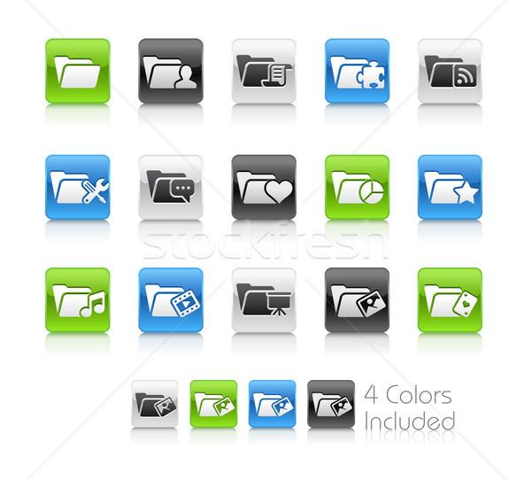 Folderze ikona czyste wektora pliku kolor Zdjęcia stock © Palsur