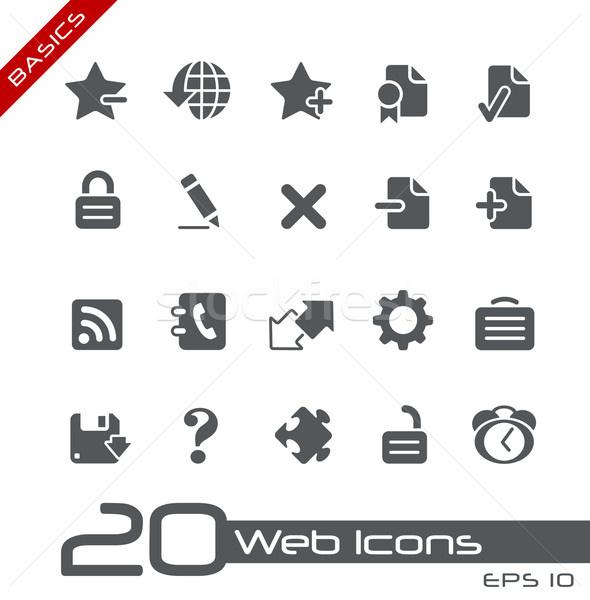 Stock fotó: Webes · ikonok · alapok · vektor · ikonok · háló · nyomtatás