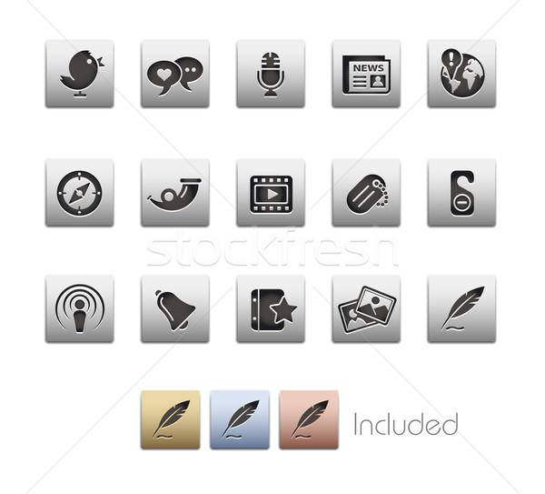Stock fotó: Közösségi · média · fémes · eps · akta · szín · ikon
