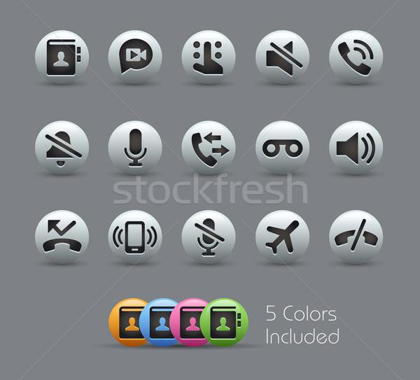 Stockfoto: Telefoon · interface · iconen · vector · bestand · kleur