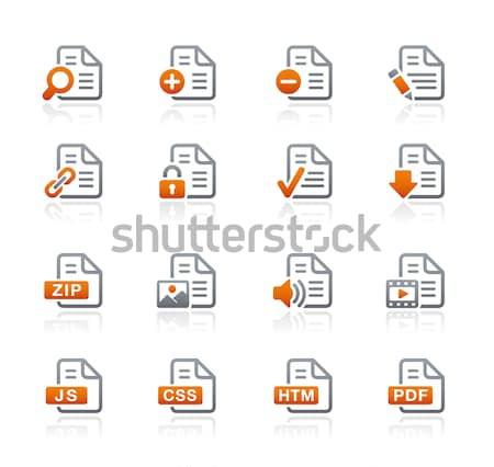 документы иконки лазурный вектора веб печати Сток-фото © Palsur
