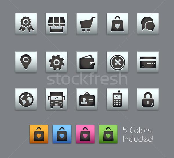 Online bolt ikonok vektor akta szín ikon Stock fotó © Palsur