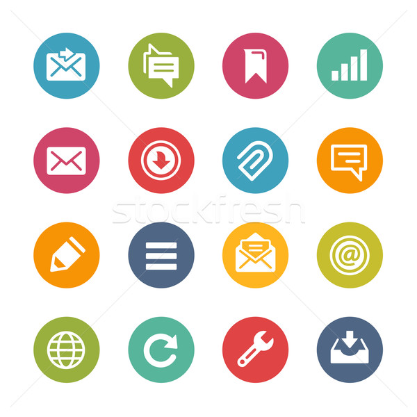 Web móviles iconos frescos colores botones Foto stock © Palsur