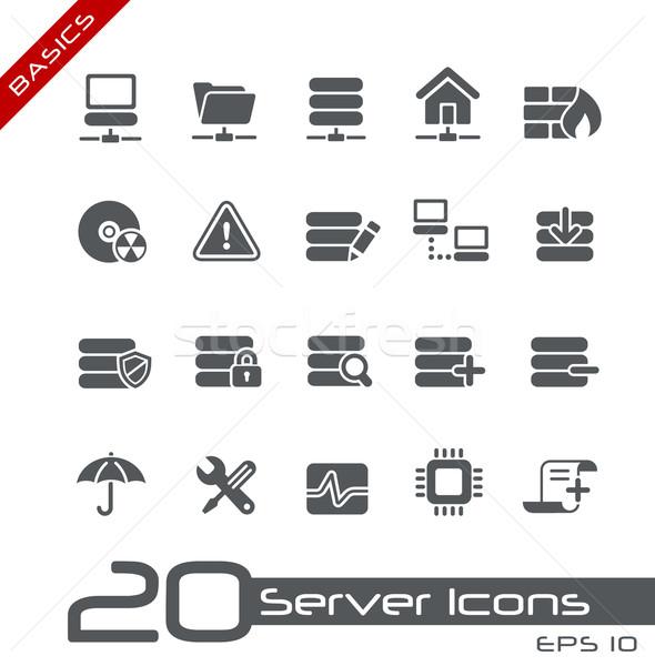 Stockfoto: Server · iconen · vector · web · afdrukken