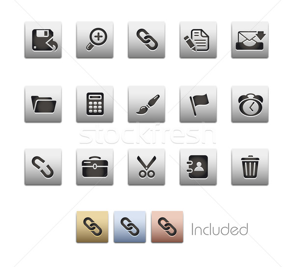Stockfoto: Interface · metalen · eps · bestand · kleur · icon