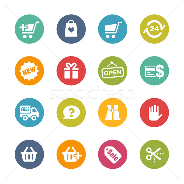 e-Shopping Icons -- Fresh Colors Series Stock photo © Palsur