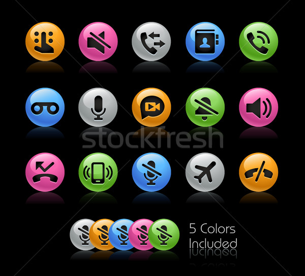 Stockfoto: Telefoon · iconen · vector · bestand · kleur · icon