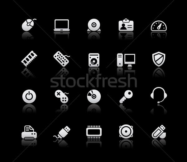 Stock fotó: Számítógép · eszközök · ezüst · vektor · ikon · szett · üzlet