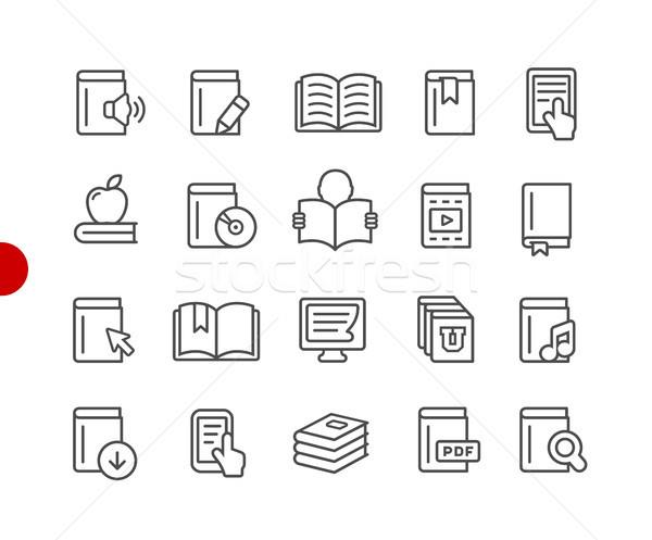 Zdjęcia stock: Książki · ikona · czerwony · punkt · wektora · line