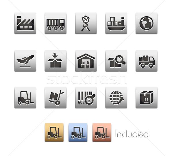 Industry and Logistics Icon set - Metalbox Series Stock photo © Palsur